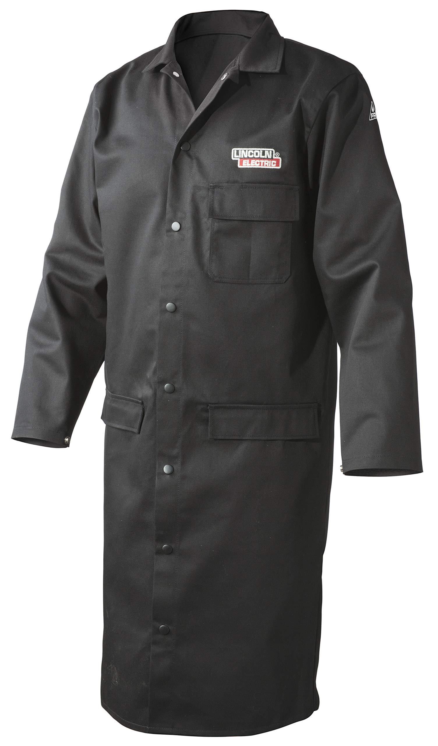 Lincoln Electric Welding Lab Coat | Premium Flame Resistant (FR) Cotton | 45'' Length | Black | Large | K3112-L