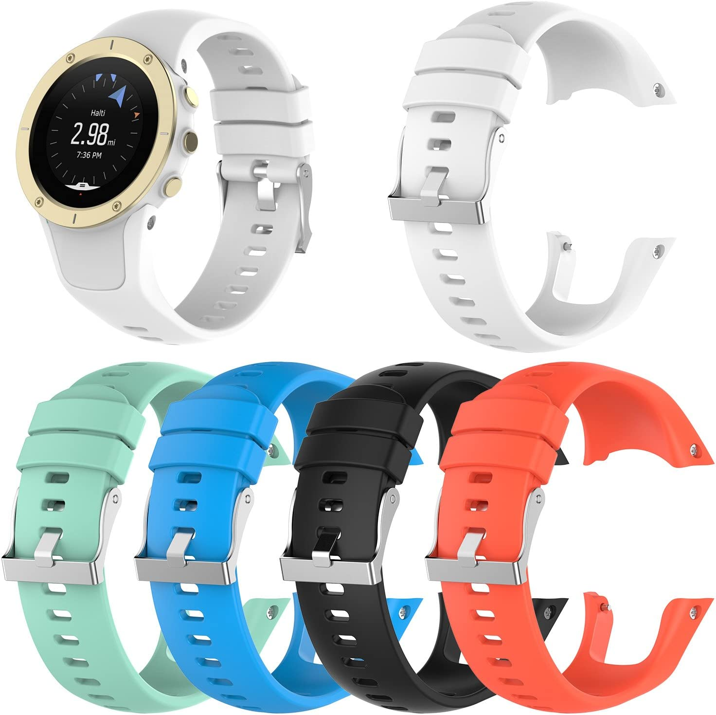 Replacement Soft Silicone Wristband Strap with Metal Buckle for Suunto Spartan Trainer Wrist HR QGHXO Band for Suunto Spartan Trainer Wrist HR