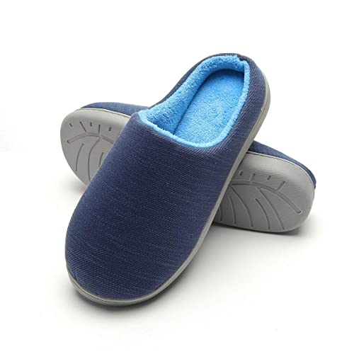 d07cd56d7c9 FLY HAWK Mens Two-Tone Memory Foam Plush House Slippers Spring Summer Indoor  Shoes
