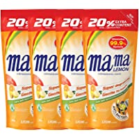 Mama Lemon Dishwashing Liquid Refill, Anti-Bacterial, Citrus, 600ml (Pack of 4)