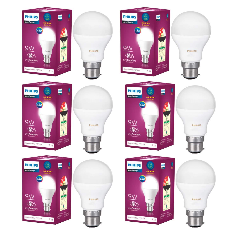 Philips Base B22 9-Watt LED Bulb (Pack Of 6, Crystal White)