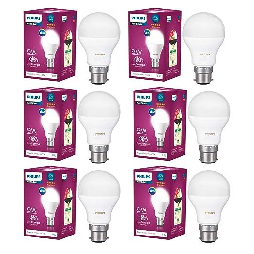 Philips Base B22 9 Watt LED Bulb  Pack of 6, Cool Day Light  LED Bulbs