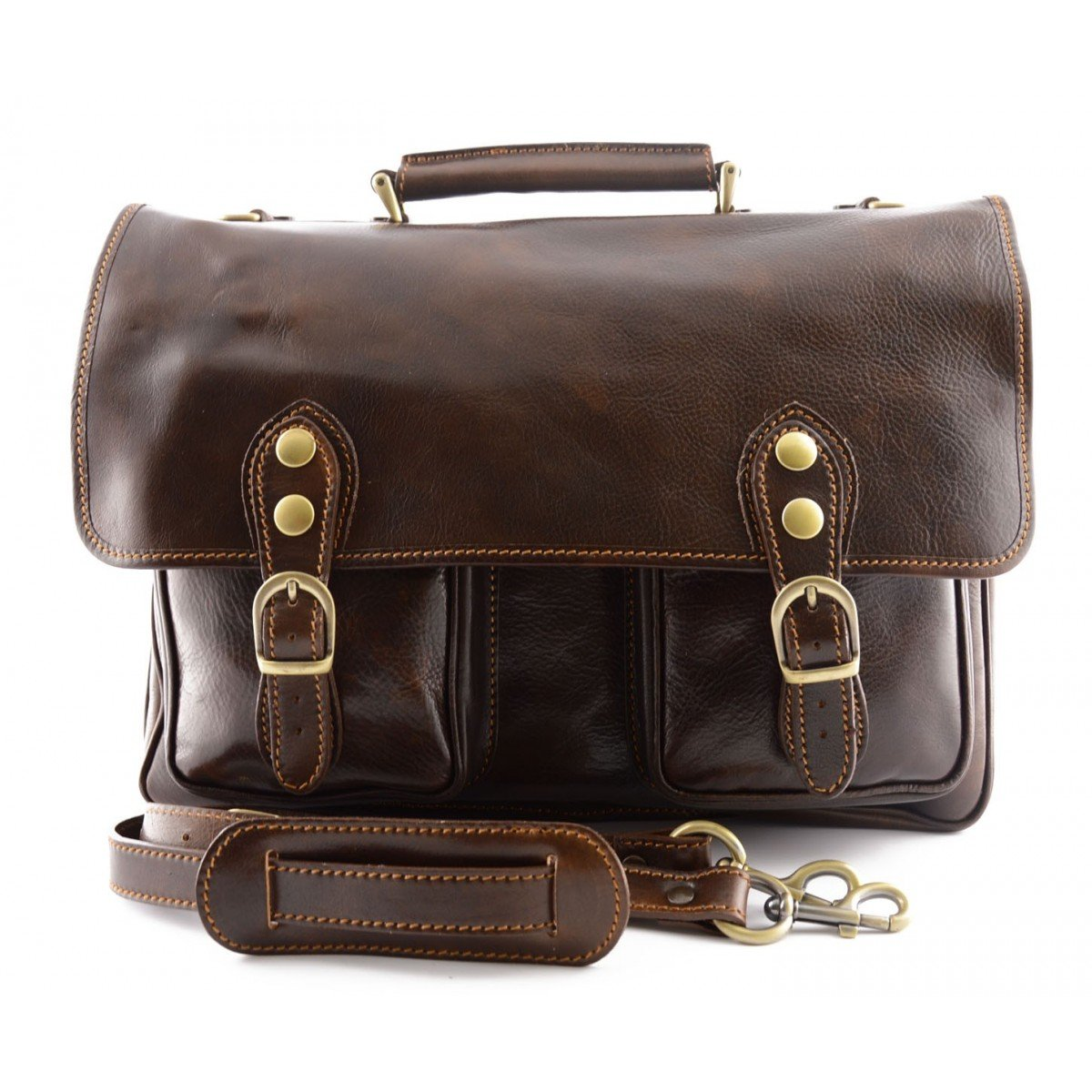 Made In Italy Business Briefcase In Genuine Leather 2 Compartments Color Dark Brown - Business Bag   B017SE7FEE