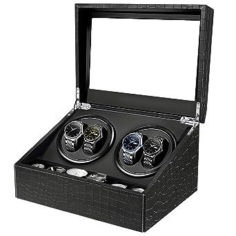 HBselect Caja Relojes Automaticos Silencioso Cajas Giratorias para Relojes (para 4+ 6 Relojes) Negro Clásico Caja De Relojes Mecánicos Caja Bobinadora: ...