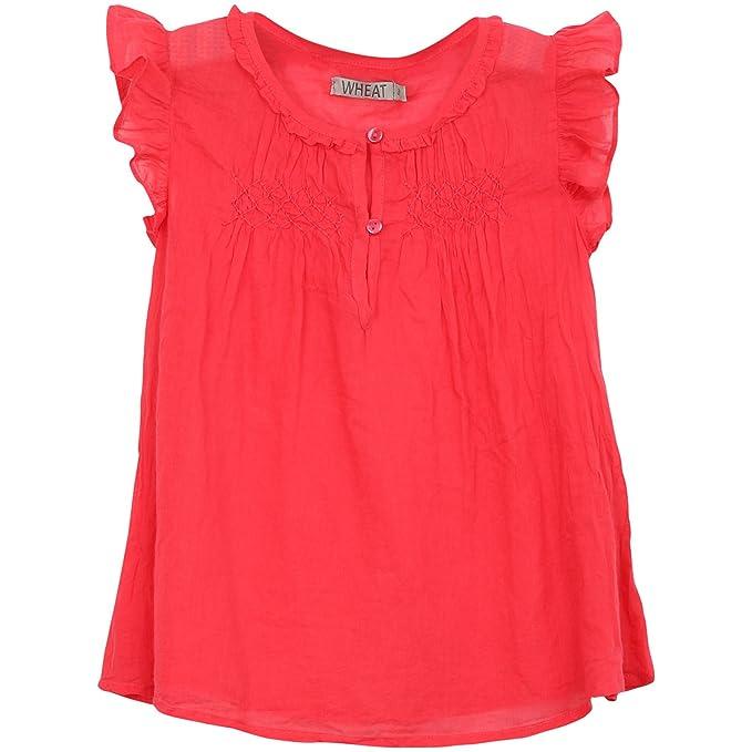 Wheat - Blusa para niña, talla 8 años (128 cm), color cereza