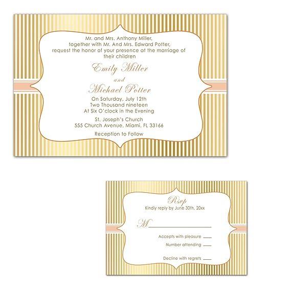 100 invitaciones de boda oro Peach rayas + respuesta tarjetas + ...