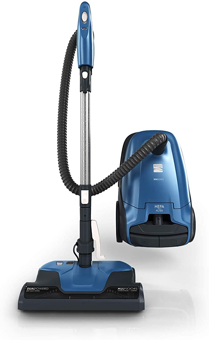 Kenmore 200 Series 14 Inch Adjustable Bagged Canister Vacuum Cleaner, Blue