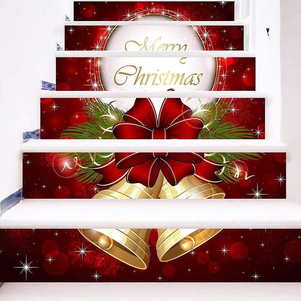 zhiyu&art decor 3D Christmas Stair Stickers Decals-6Pcs/Set Christmas Stair Risers Stickers Decals Removable Staircase Decals Vinyl Wall Stickers for Stair Steps Christmas Decoration