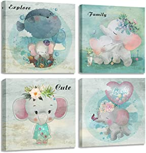 """Acocifi Elephant Canvas Wall Art Cute Animals Pictures Lovely Pink Colorful Paintings Set of 4 Watercolor Artwork for Bedroom Girls Room Baby Room Nursery Room Bathroom Wall Decor, 14""""x14""""x4 Panels, Gallery Wrapped Ready to Hang"""