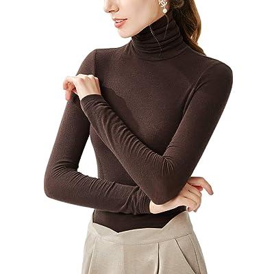 DAN YU Women Turtleneck Long Sleeve Shirt Slim Elastic Top: Clothing