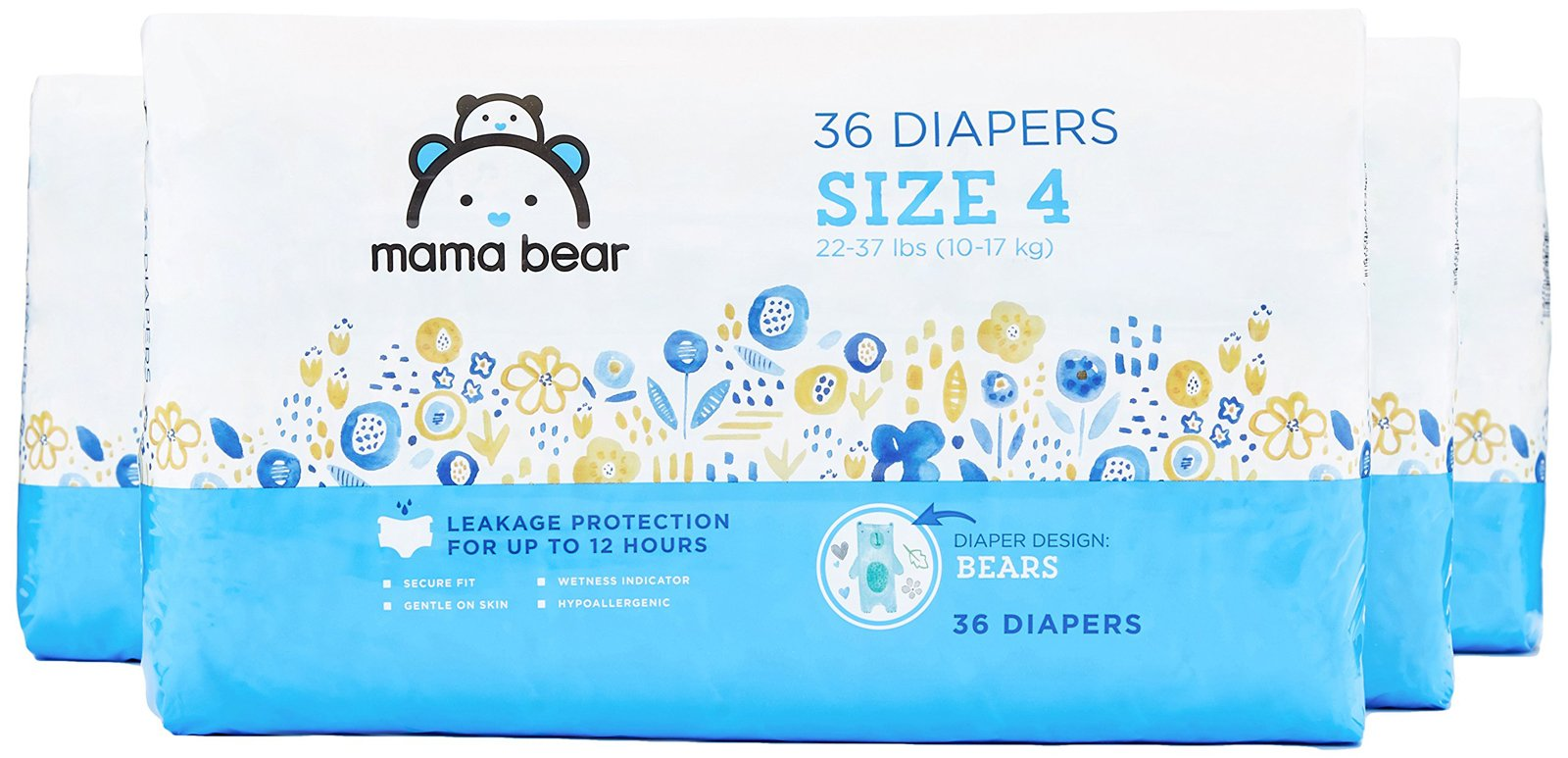Amazon Brand - Mama Bear Diapers Size 4, 144 Count, Bears Print (4 Packs of 36)