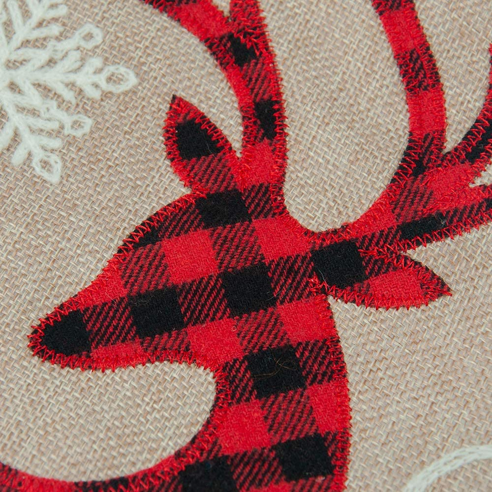 Classical Red and Black Plaid Reindeer Xmas Sock for Home Party Decoration HAUMENLY Burlap Christmas Stocking