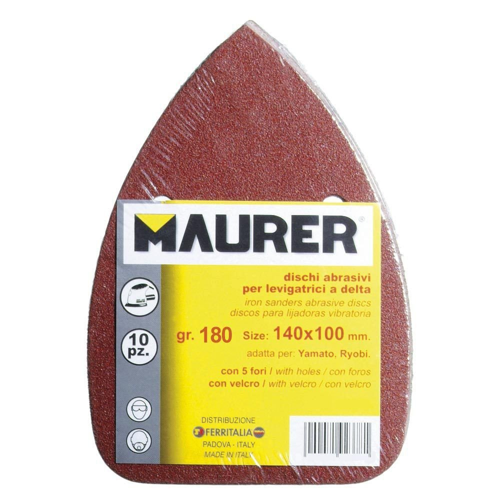 papel de lija 140 x 140 x 98 mm hojas de lija negras y lijadora de palma Almohadillas para lijadora de rat/ón grano entero 10 unidades TOOLSTAR lijadora triangular