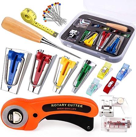 Bias Tape Maker Tool Kit Tape Binding Presser Bias Binder Foot Awl Ball Pins 6mm//9 mm//12mm//18mm//25mm DIY Sewing Bias Tape Makers