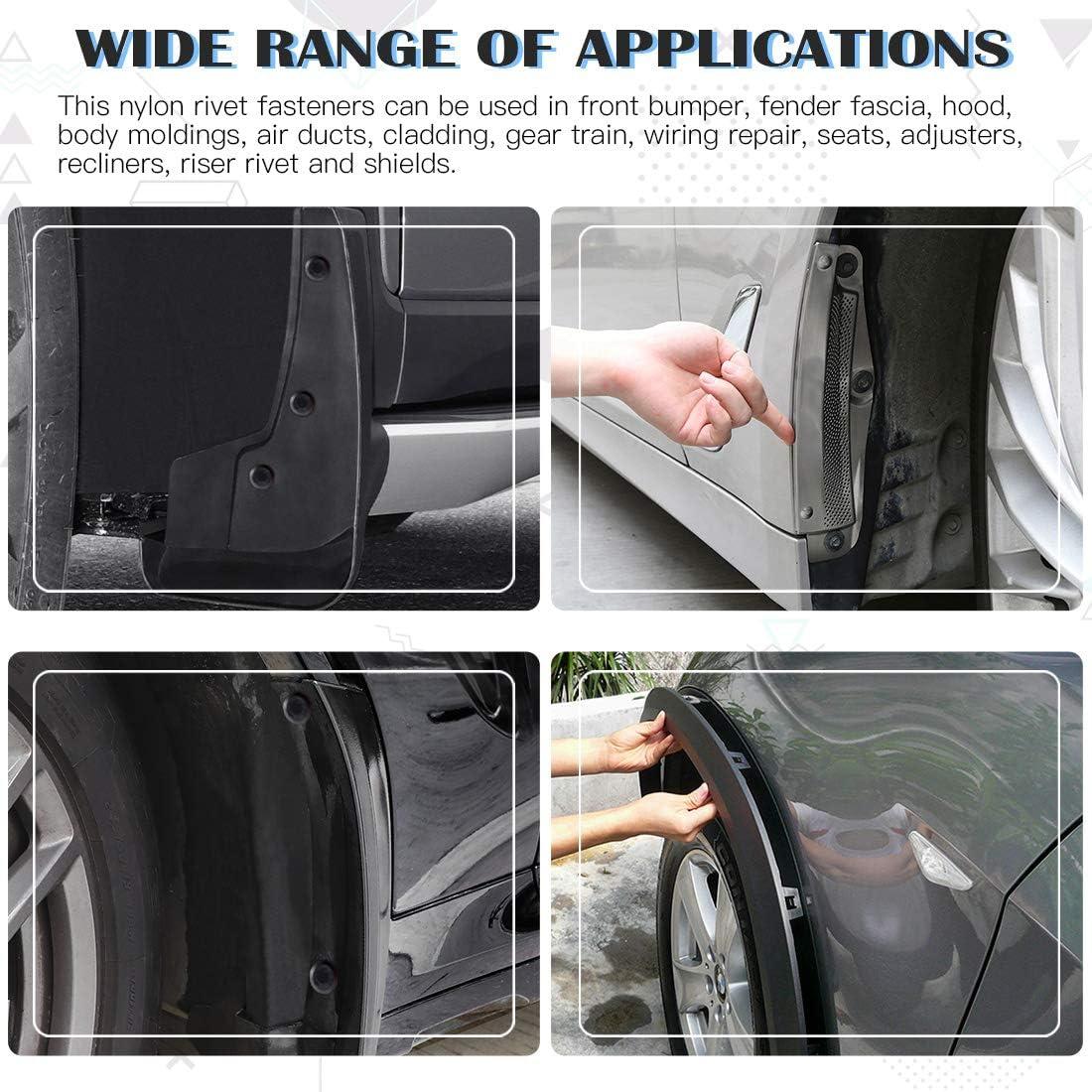 Glarks 120Pcs 6 Sizes Black Nylon Pop Rivet Assortment Plastic Rivet Clip Nylon Blind Rivets Compatible with GM Ford Chrysler VW