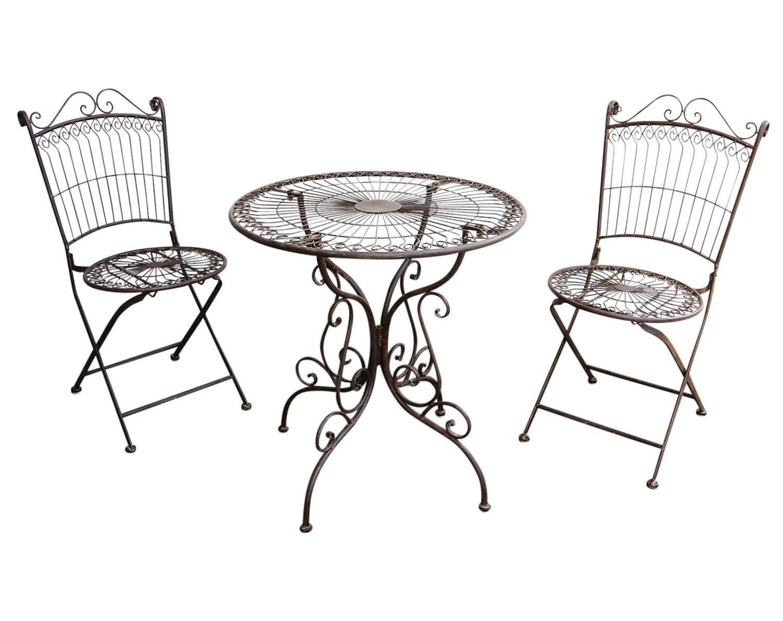 aubaho Gartenmöbel Garnitur Tisch 2X Stuhl Garten Gartengarnitur Antik-Stil Metall Set