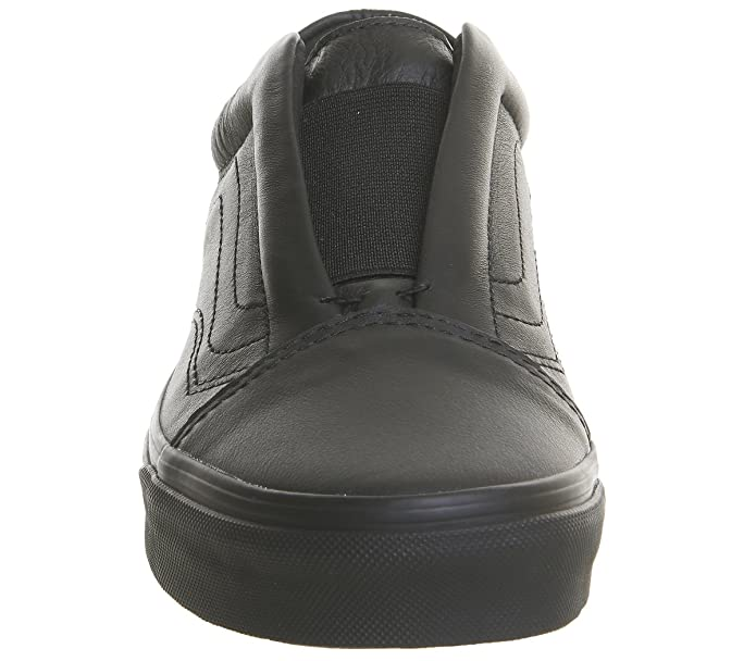 8f6bdfbf3e5 Vans Old Skool Laceless Black Mono Leather - 7 UK  Amazon.co.uk  Shoes    Bags