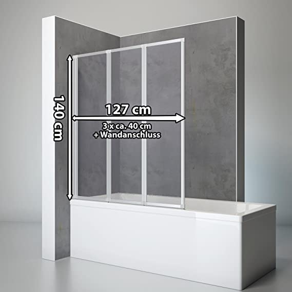 Schulte 4061164998202 ducha pared Well, 127 x 140 cm, 3 piezas, plegable, de cristal adornos, perfil de gotas de color de aluminio natural, mampara para bañera, aluminio natural: Amazon.es: Bricolaje y herramientas