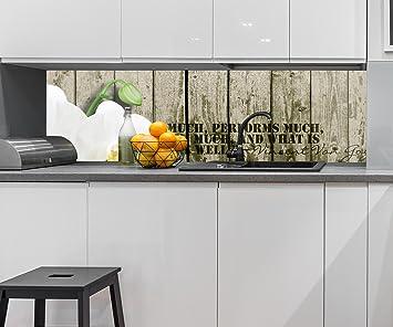 Küchenrückwand Holz Zaun weiße Orchidee Nischenrückwand ...