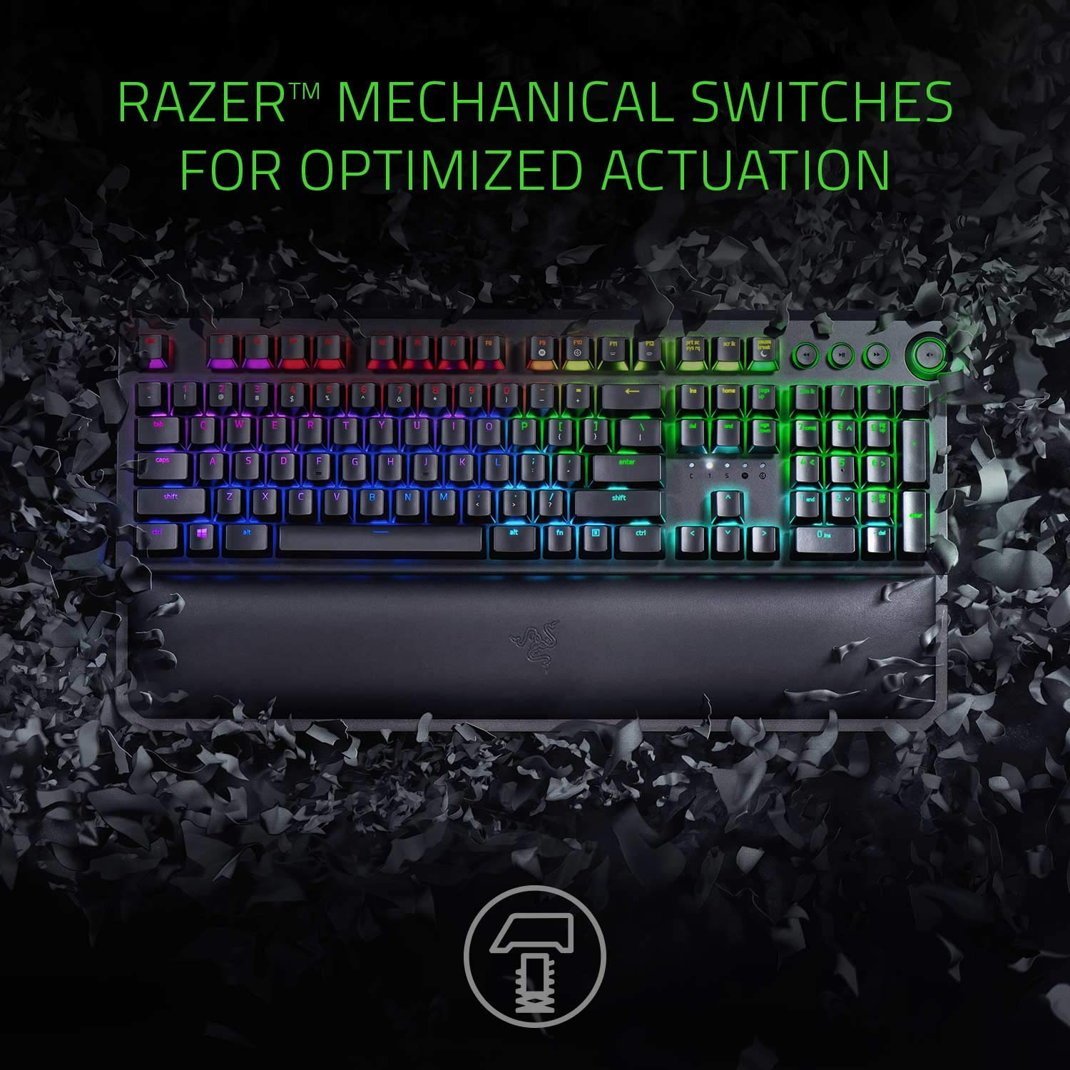 Razer BlackWidow Elite Mechanical Gaming Keyboard Green Mechanical Switches – Tactile Clicky – Chroma RGB Lighting – Magnetic Wrist Rest – Dedicated Media Keys Dial – USB Passthrough