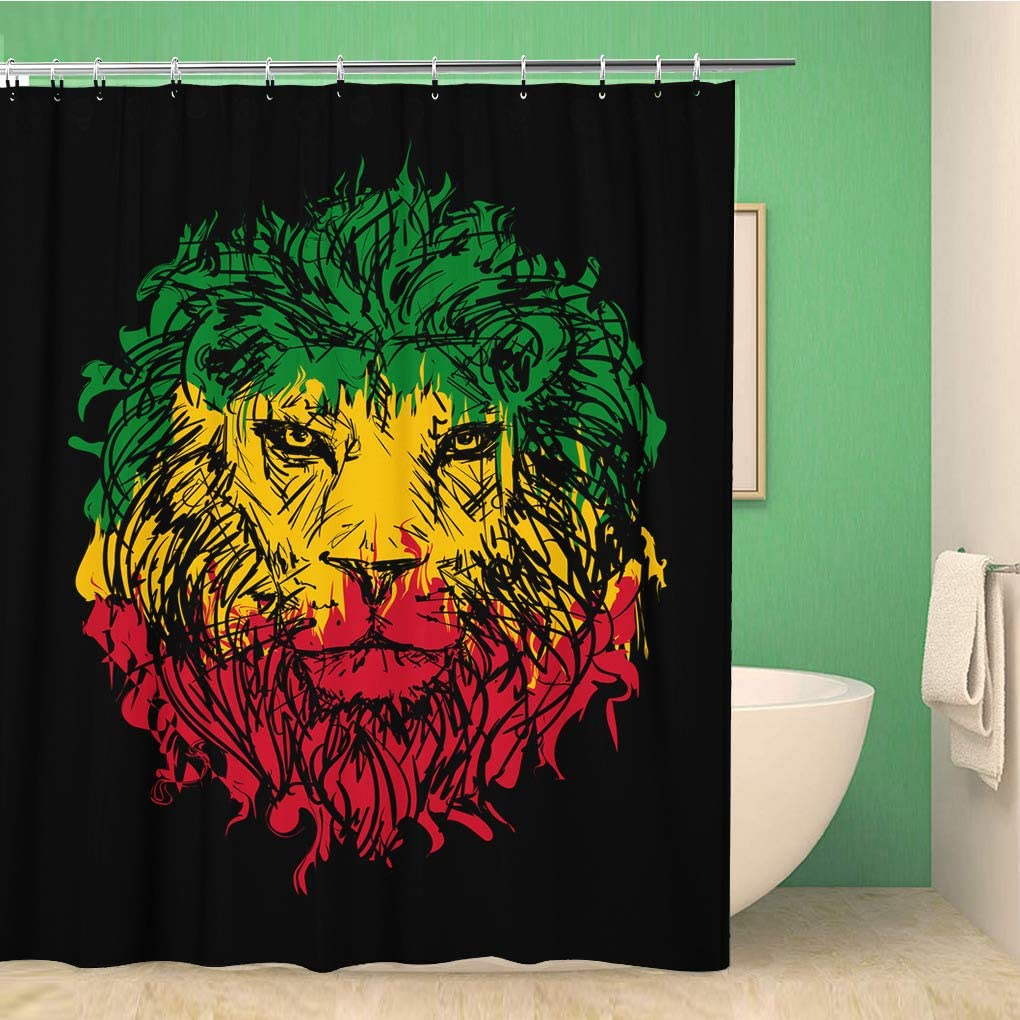 Topyee Shower Curtain Green Reggae Rasta Lion Head on Red Marley Bob 60x72 Inches Waterproof Polyester Bathroom Decor Curtain Set with Hooks