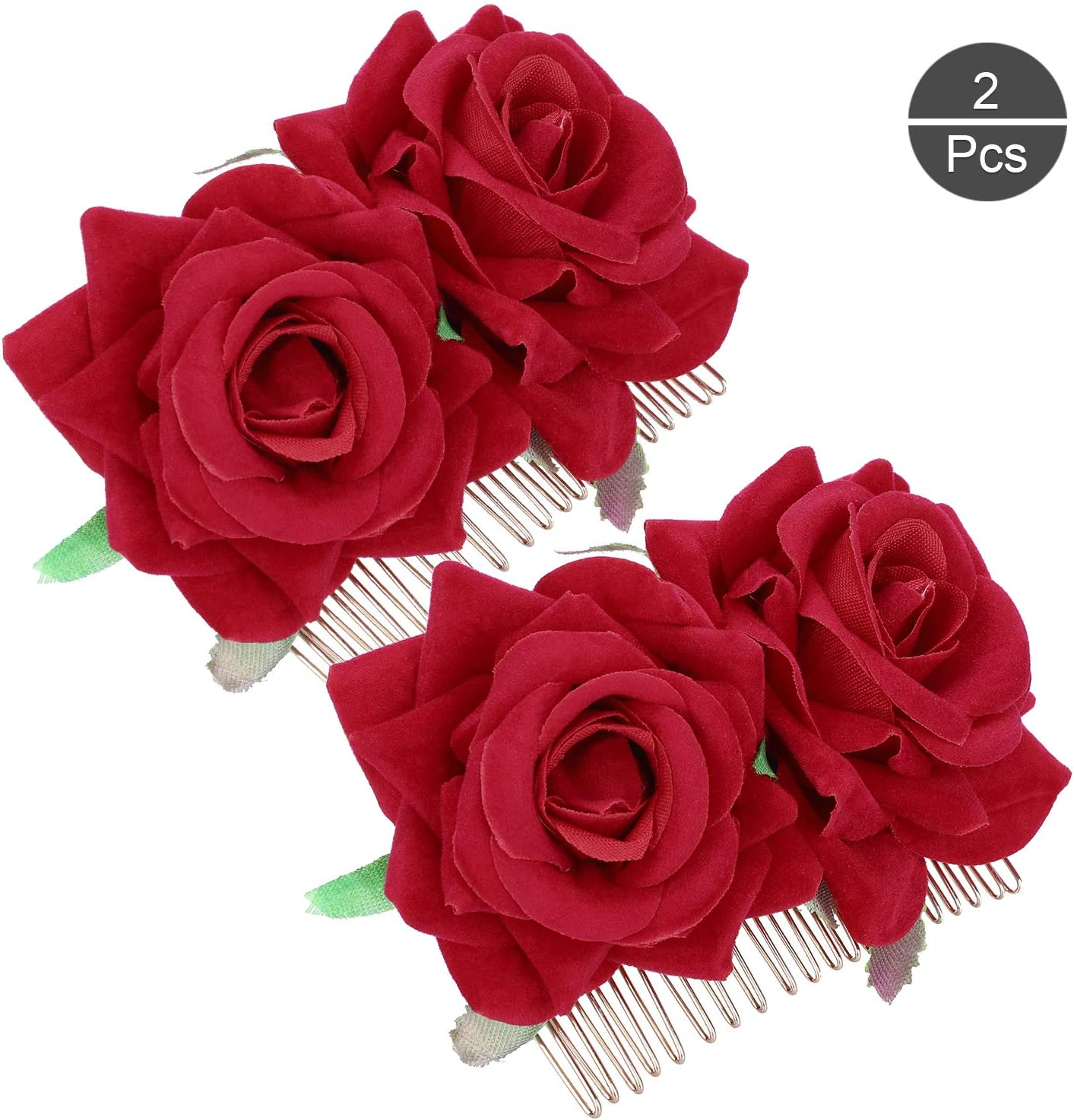 Fleur pince à cheveux tissu transparent rose rouge originale pinup rétro