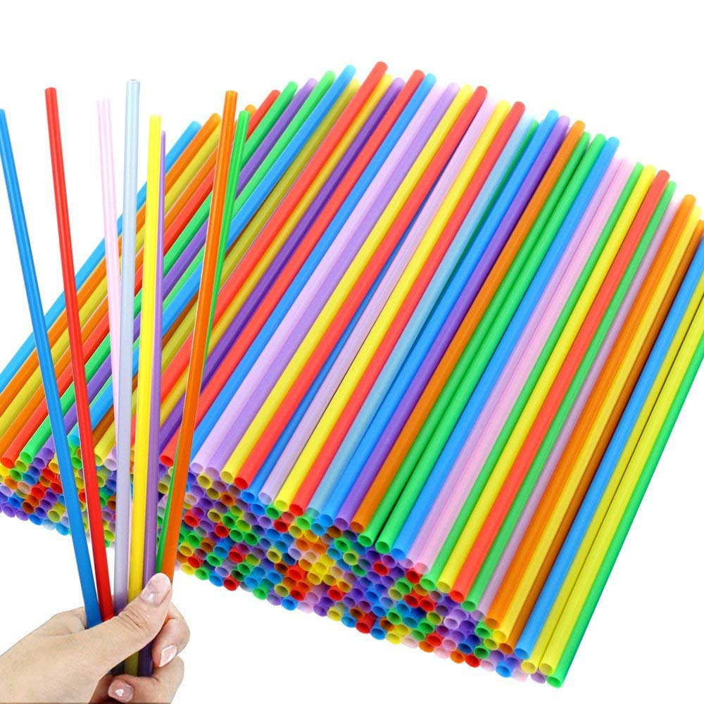 Tomnk 300pcs 10.3 Inches Disposable Color Drinking Straws Plastic Straws by TOMNK