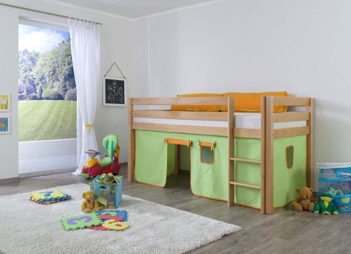 Steens Etagenbett Kiefer : Dreams4home kinderbett hochbett spielbett steens grün orange