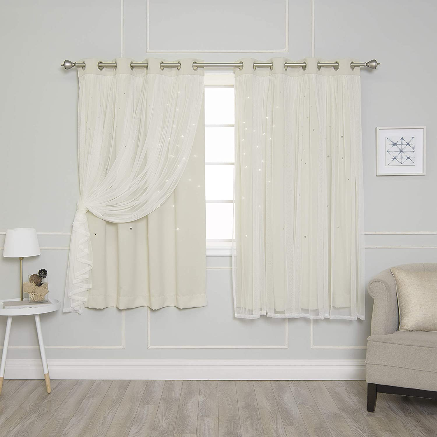 """Best Home Fashion Tulle Overlay Star Cut Out Blackout Curtains (52"""" W x 63"""" L, Biscuit)"""