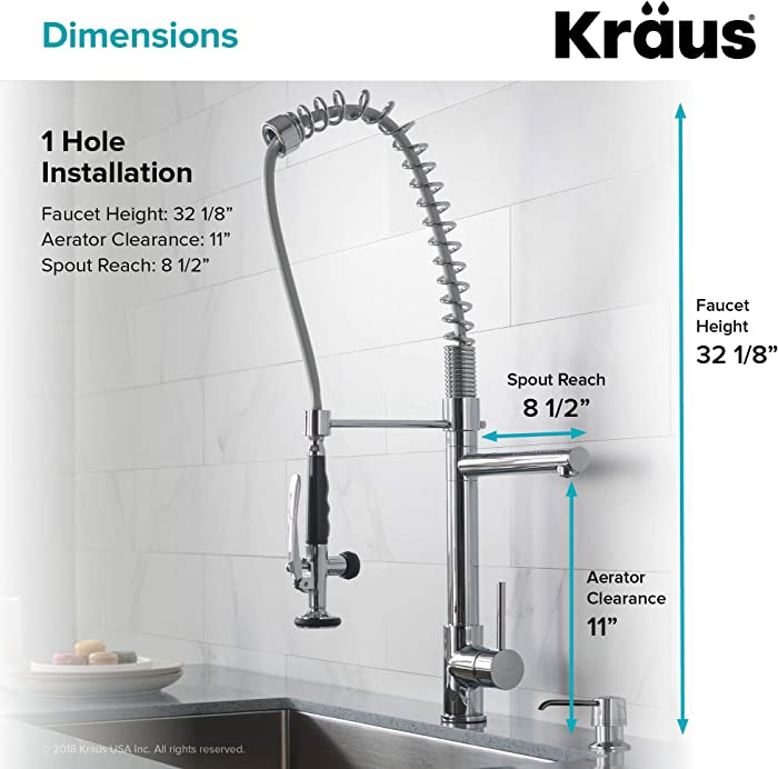 Kraus KPF-1602 Single Handle Commercial Style Pull Down Kitchen Faucet