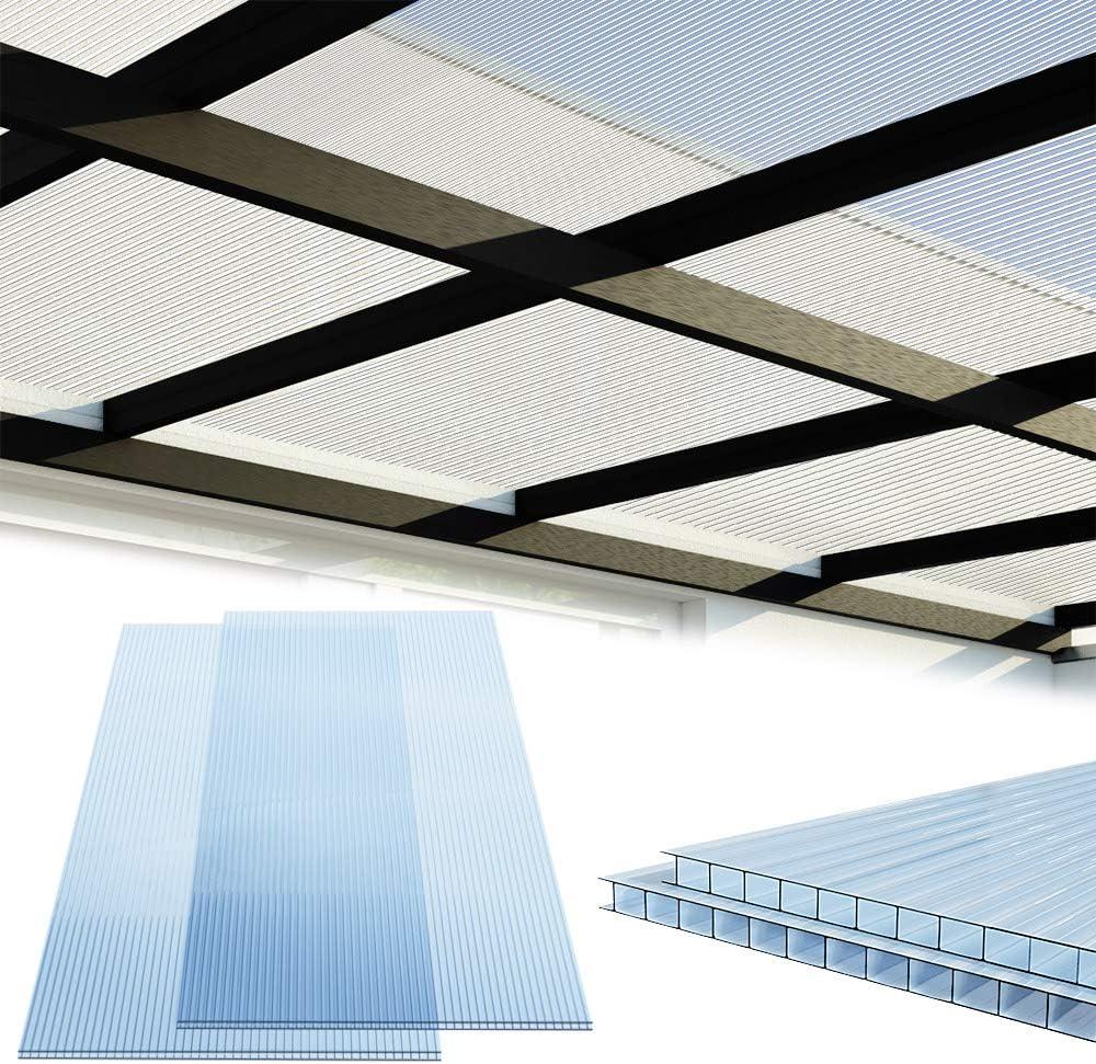 Deuba Placas de policarbonato 14 paneles 60, 5x121cm 10, 25m² doble pared de policarbonato resistente a los rayos UV: Amazon.es: Jardín