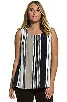 Ulla Popken Women's Plus Size Stripe Top Layer Round Neck Tank Jumpsuit. 710795