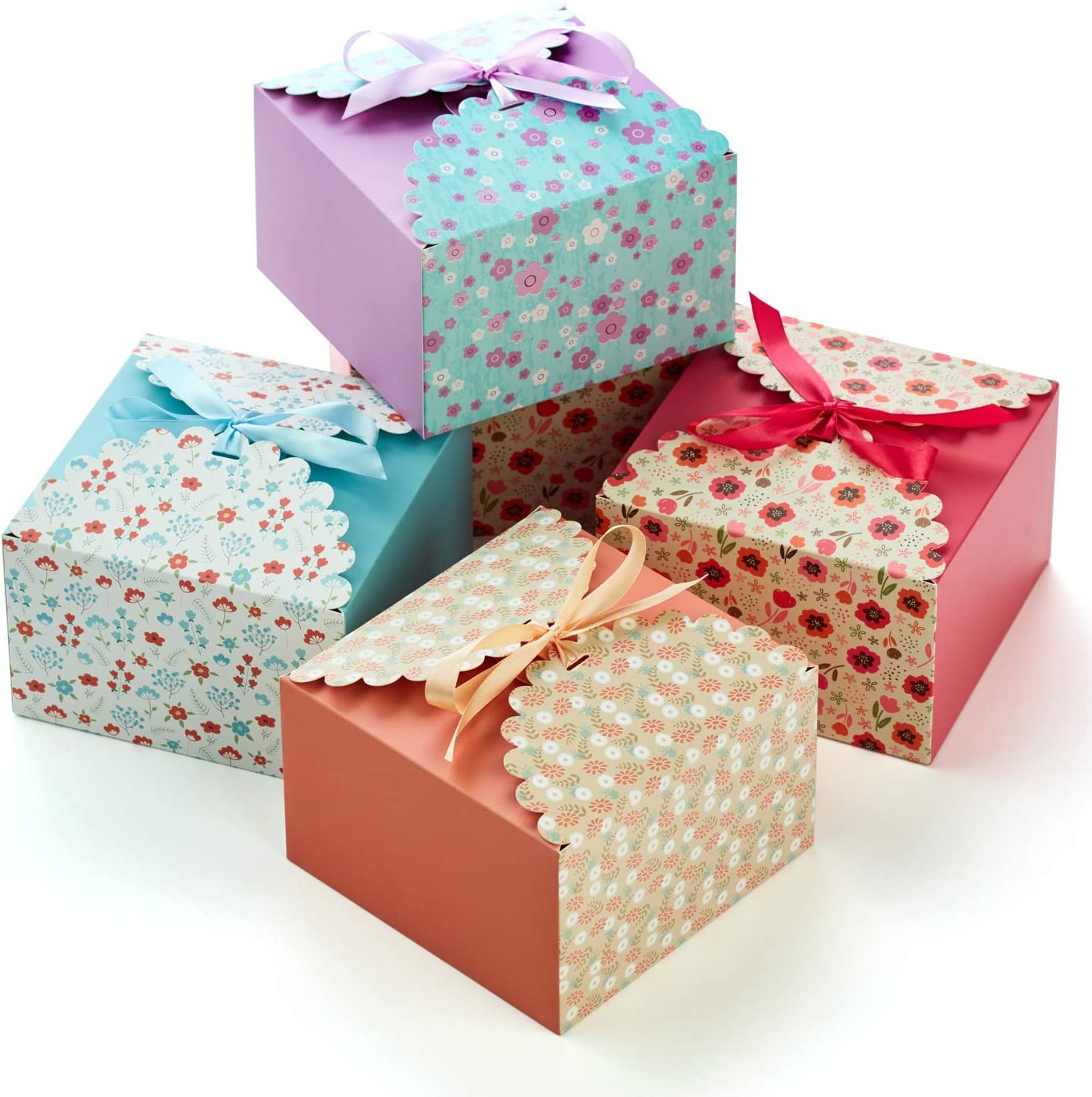 """Hayley Cherie Gift Treat Boxes with Ribbons (20 Pack) - Thick 400gsm Card - 7.3"""" x 7.3"""" x 4.6"""" Inches - for Cakes, Cookies, Goodies, Candy, Party Christmas, Birthdays, Bridesmaids, Weddings (Large)"""