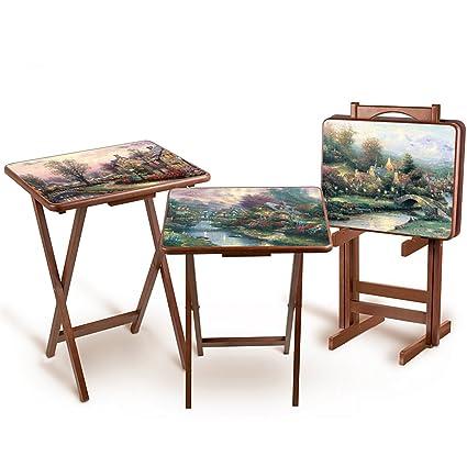 Thomas Kinkade Artistic Wooden Tray Tables By The Bradford Exchange