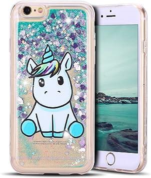 Mosoris Coque iPhone 6S Glitter Liquide Cover Mode 3D TPU Etui Licorne iPhone 6 Transparent Souple Silicone Etui Housse Bling Paillettes Flowing Sand ...
