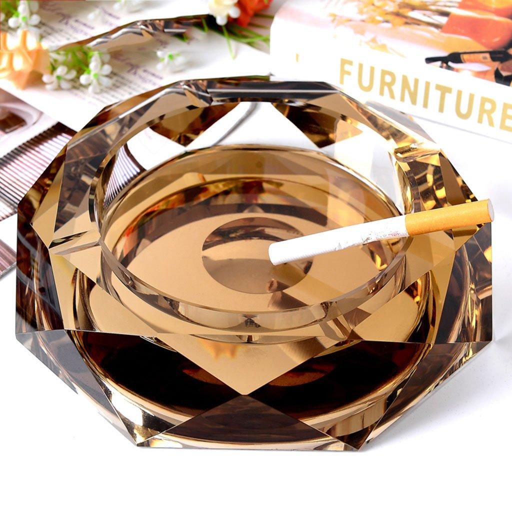 Cenicero de Cristal de cenicero Cenicero de la Sala Cenicero de Moda de Europa Regalos Grandes Productos para el hogar Equipaje (Color : Gold, Size : 12 * 12 * 3 cm/5 * 5 * 1 Inch) Ceniceros portátiles