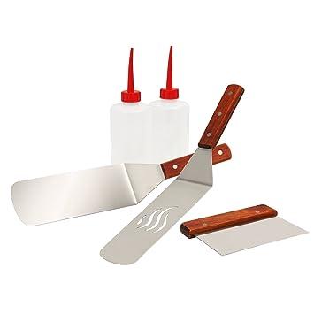 Toro de BBQ Barbacoa Espátula plancha Kit de acero inoxidable para plancha, contiene: 2