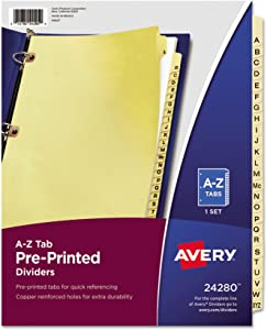 Avery 24280 Preprinted Laminated Tab Dividers w/Copper Reinforced Holes, 25-Tab, Letter