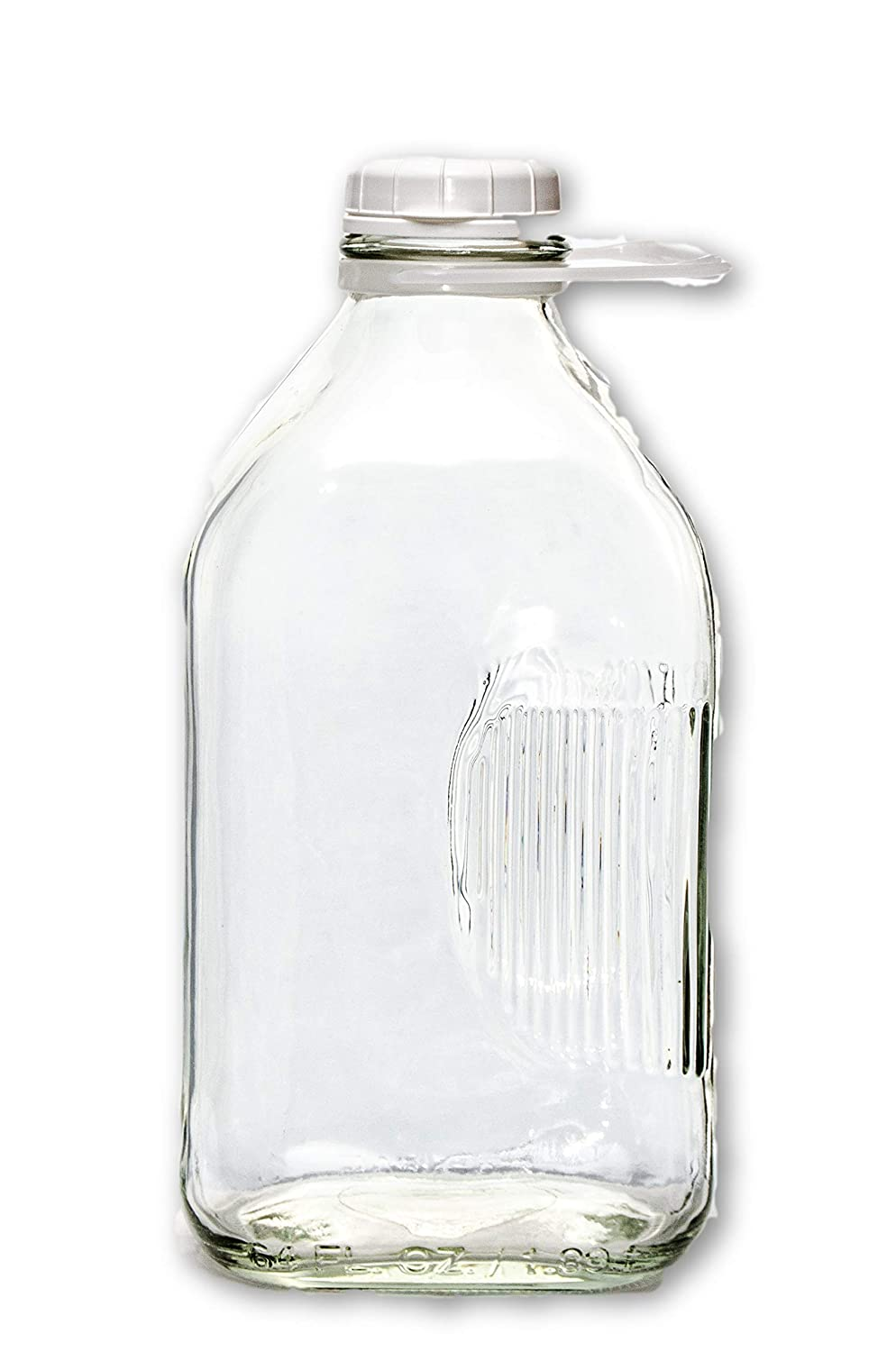 2 Qt Glass Milk Bottle, 64 oz, Heavy Glass with Lid, Creamery Style