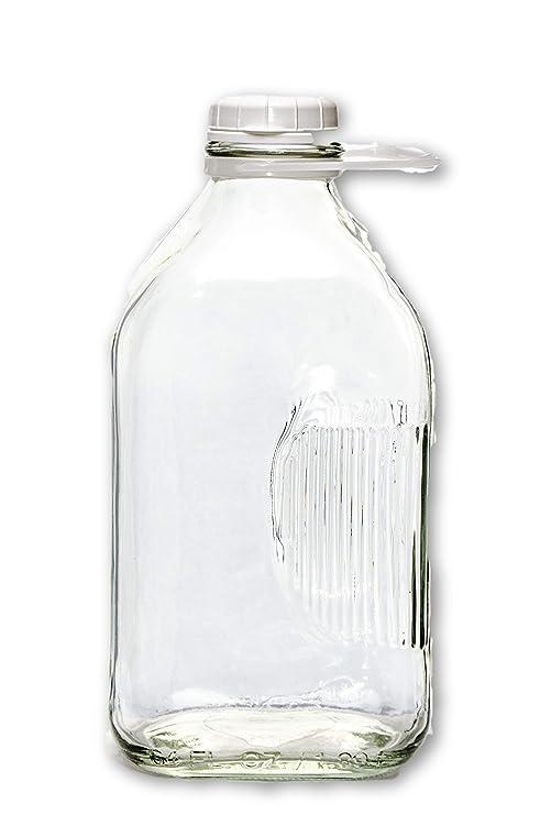 0d9fce7806ec The Dairy Shoppe 2 Qt Heavy Glass Milk Bottle with Handle & Cap, 64 oz, 1/2  gallon