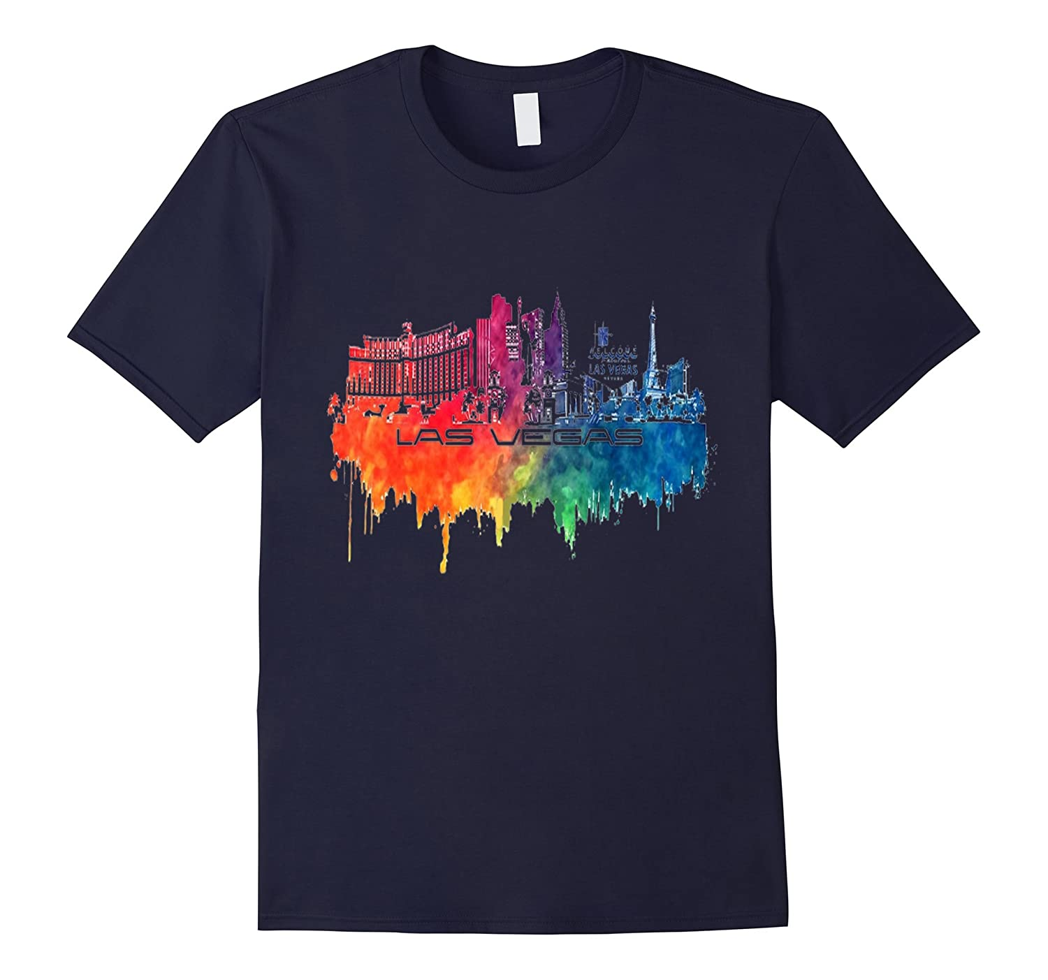 Las Vegas skyline city color t-shirt-RT