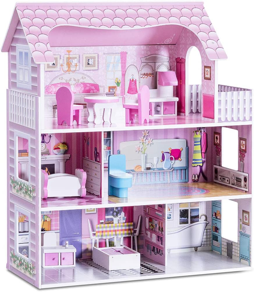 Costzon Dollhouse Toy Family House With 13 Pcs Furniture Play Accessories Cottage Uptown Doll House Dreamdoll House Playset For Girls Three Levels Toys Games