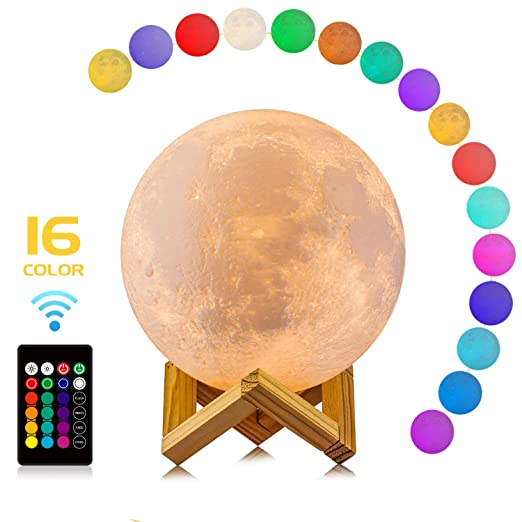 Moon Lamp, LOGROTATE 16 Colors LED 3d Print Moon Light with Stand & Remote&Touch Control and USB Rechargeable, Moon Light Lamps Night Lights for Baby Kids Lover Birthday Party Gifts(Diameter 4.8 INCH)