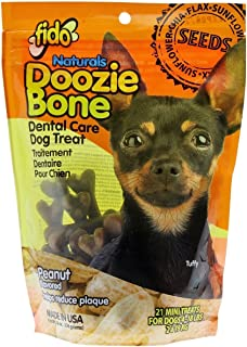 product image for Fido Naturals Doozie Bones Dental Care Treat for Dogs, Peanut Flavored, Made with Sunflower, Chia, & Flax Seeds-Naturally Freshens Breath, Reduces Plaque & Whitens Teeth