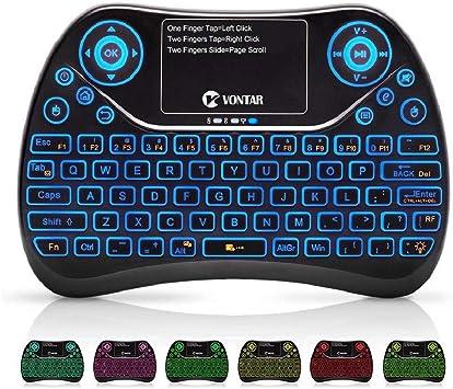 VONTAR Mini Teclado Inalámbrico con Touchpad Mouse y Teclas Multimedia, 2.4GHz USB Mando a Distancia de Mano Recargable para PCTP, D, Smart TV, Google ...
