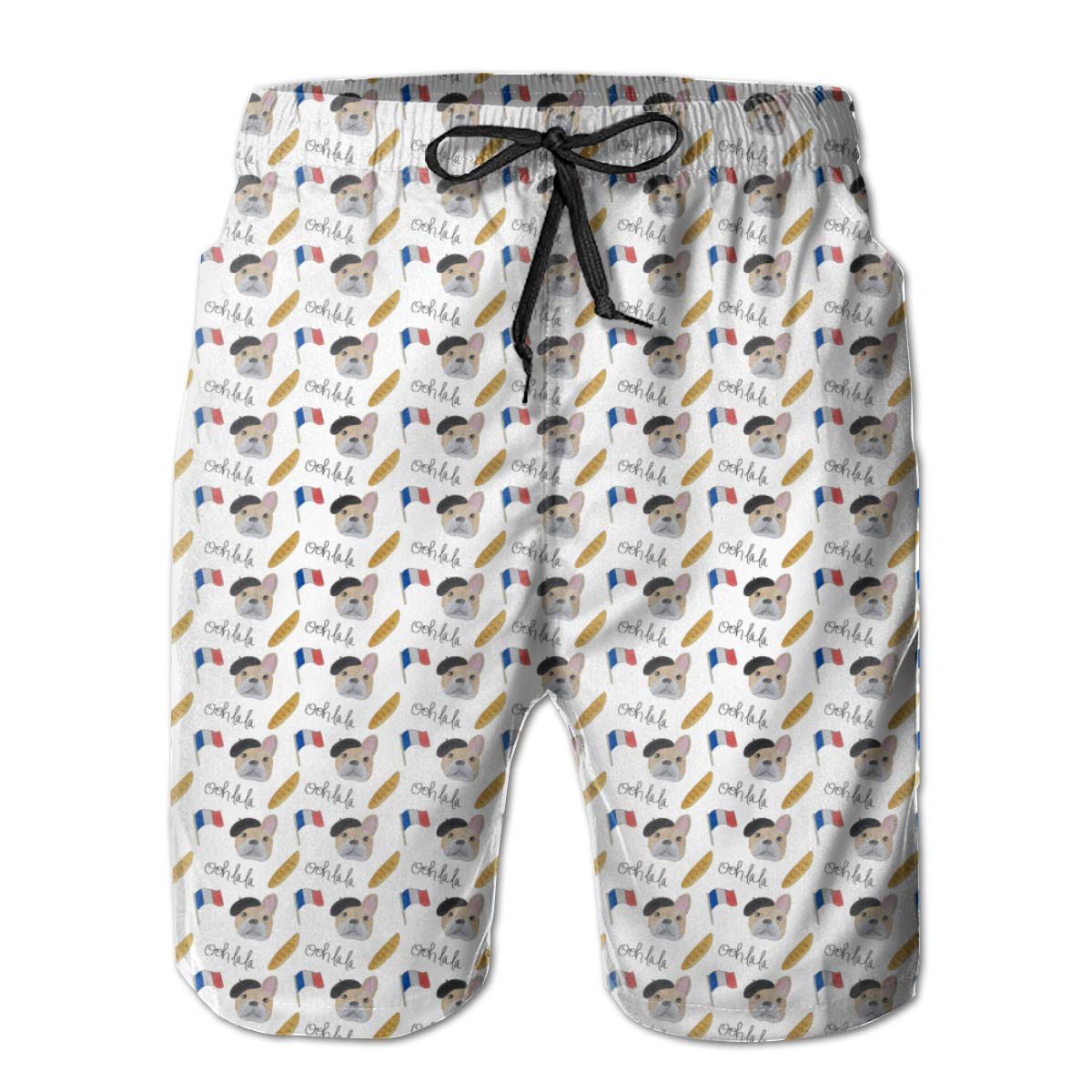 Yeates Flower Mens Swim Trunks Quick Dry French Bulldog and French Flag Printed Summer Beach Shorts Board Beach Short