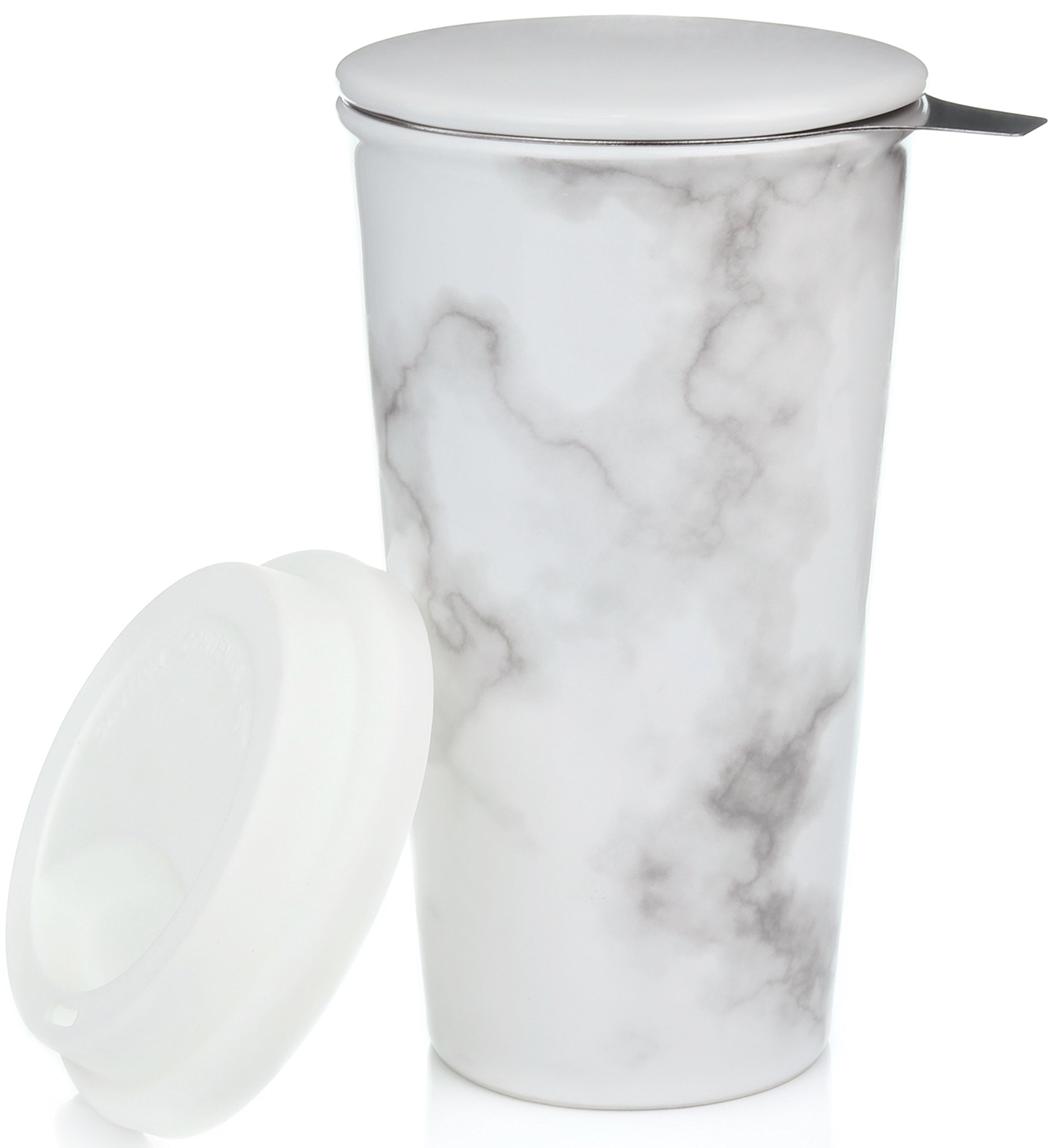 Ceramic Travel Mug with Lid. Double-Walled Insulated Cup comes with Deep Stainless Steel Tea Infuser and Bonus Silicone Top. Extra Tall Single Cup Perfectly Steeps Loose Leaf Tea … (Marble, 12)
