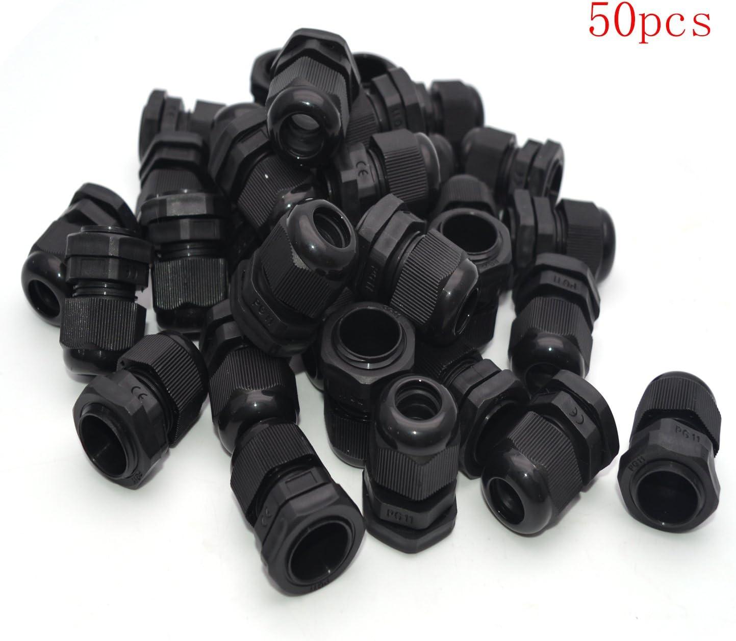 Black Cable Connectors Gland Wire 10//50pcs PG13.5 IP68 9mm PA66 PG11 Durable