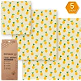 Beeswax Wrap Assorted 5 Packs, Eco Friendly Reusable Food Wraps, Biodegradable, Non-Toxic &Sustainable Plastic Free Food Storage- 1 Small, 3 Medium, 1 Large- Say Goodbye to Plastic
