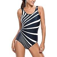 EVALESS Womens Oblique Stripes Swimsuit Color Block One Piece Bathing Suit Monokini